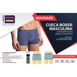 KIT CUECA BOXER MASCULINA COM ABERTURA NA FRENTE COM BOTÕES