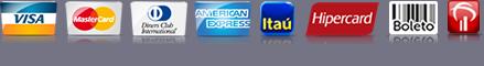 Meios para comprar em nossa loja: Visa, MasterCard, DinnersClub, American Express, Itaúcard, Boleto Bancário, Cartões HSBC,